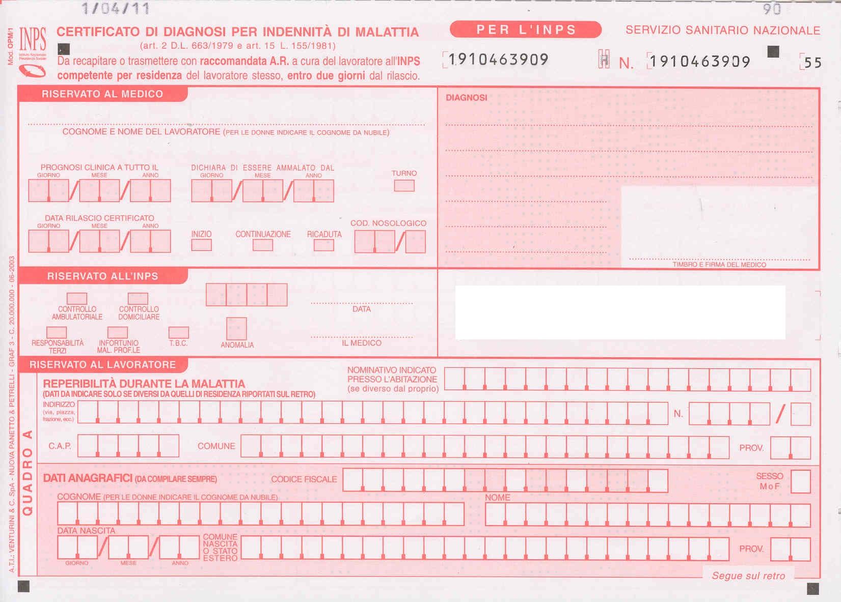 Certificato malattia cartaceo invio inps